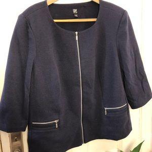 Roz & Ali zip front ribbed knit navy blazer 2x